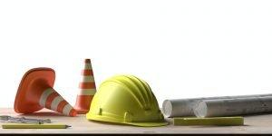 Proyectos obras públicas Trabajo de arquitecto. Planos de construcción de proyectos y herramientas de ingeniería Architect workplace. Project construction blueprints and engineering tools on wooden desk