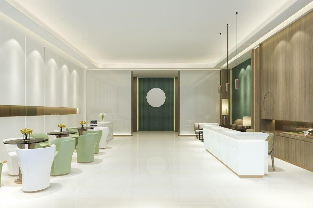 Reformas Comunidad Foral de Navarra Reforma gran salón recepción hotel de lujo con tono verde