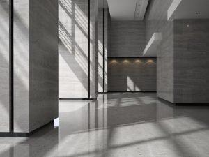 Reformas Comunidades Interior of a lobby hotel reception 3D illustration